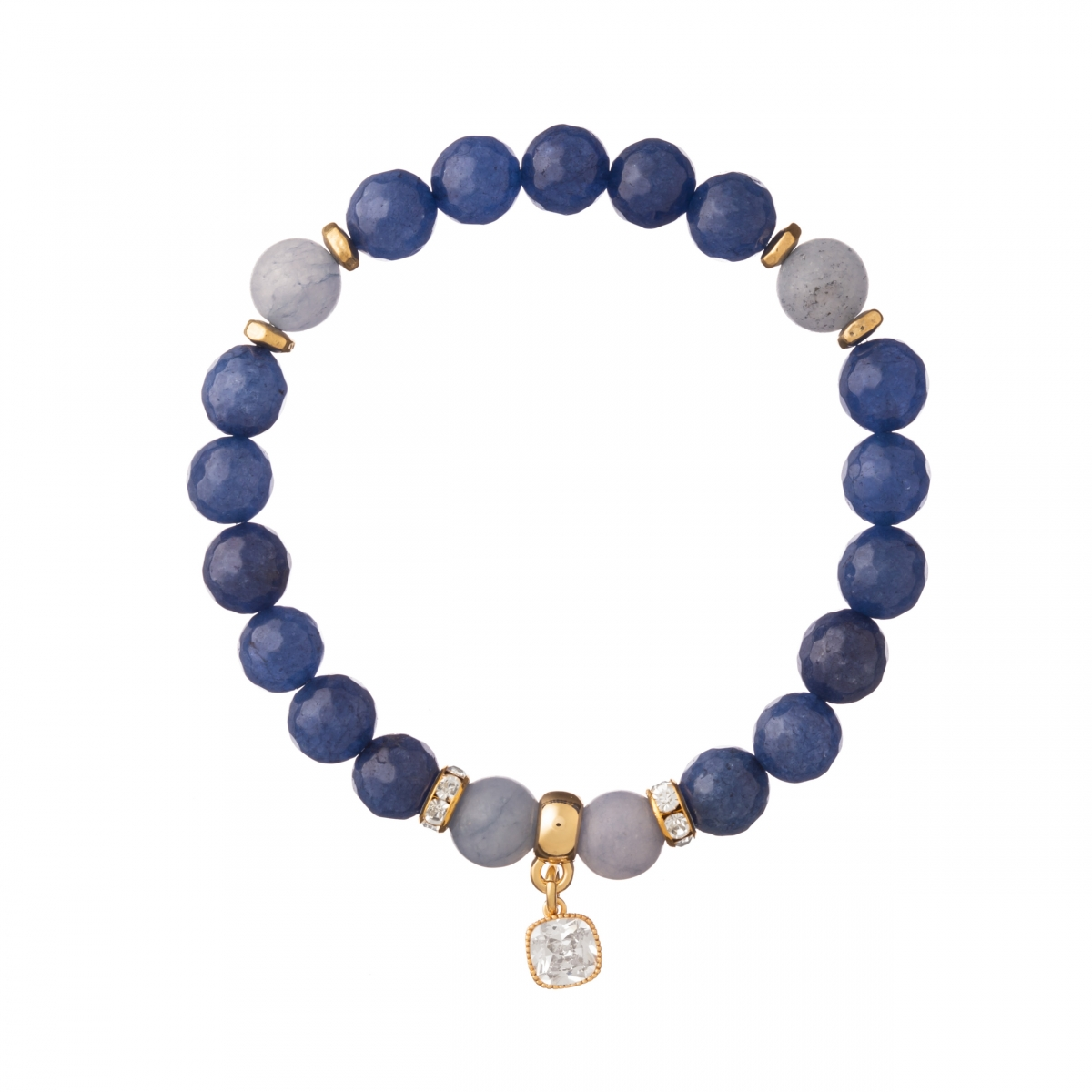 Náramok Mineral Blue Facet Jadeit Gold Zircon Crystal