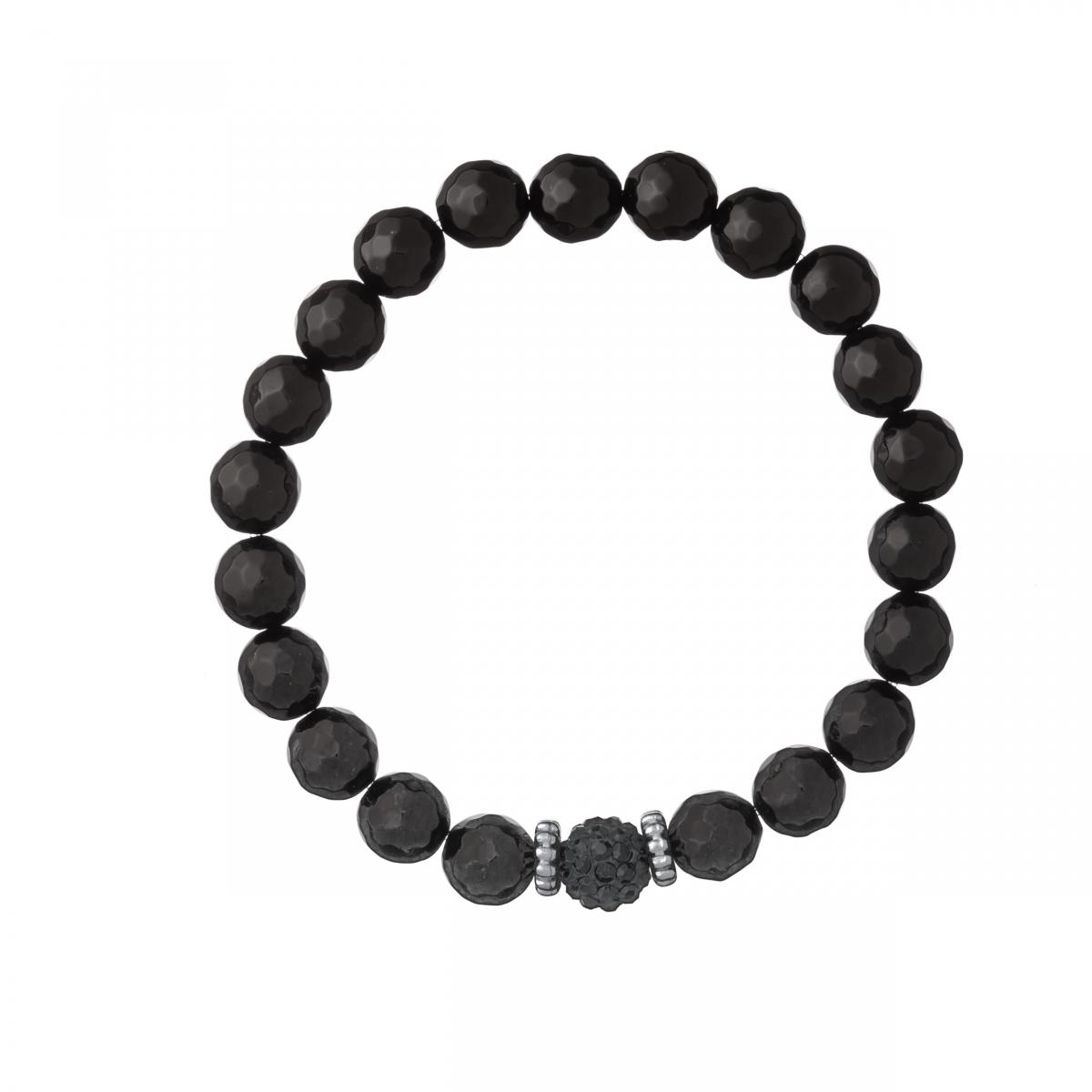 Náramok Mineral Black Facet Onyx Ball Crystals Silver
