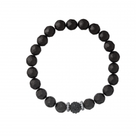 Náramok Mineral Black Facet Onyx Ball Crystals Silver
