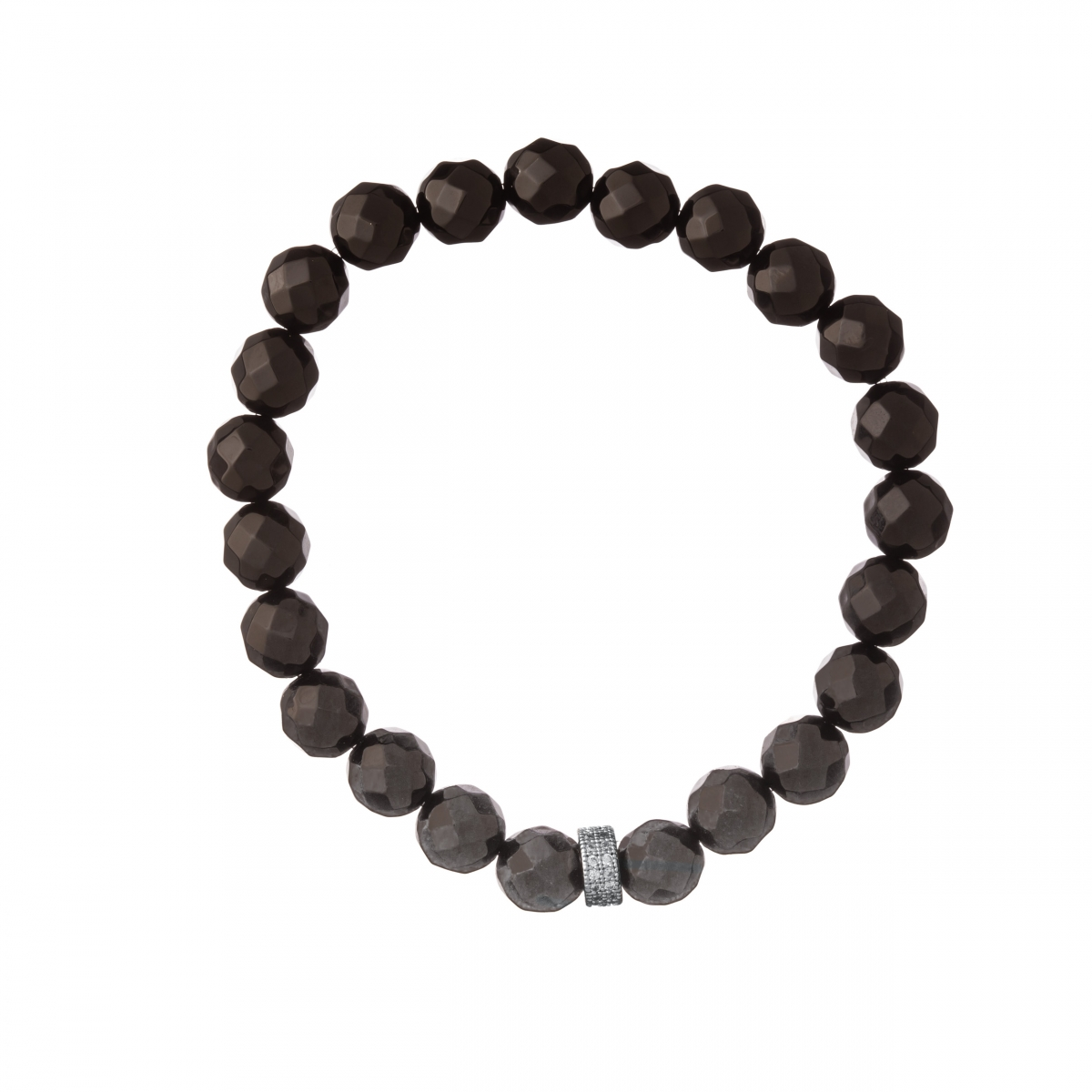 Náramok Mineral Facet Black Onyx Zircon Crystals Silver