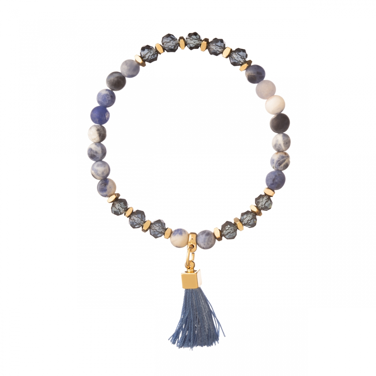 Náramok Mineral Blue Textil Stripe Gold