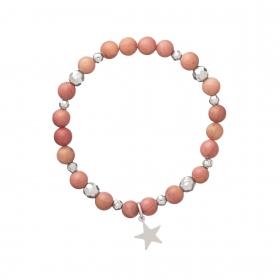 Náramok Mineral Pink Rhodochrosite Silver Star