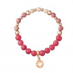 Náramok Mineral Pink Jadeit Rose Gold Leaf