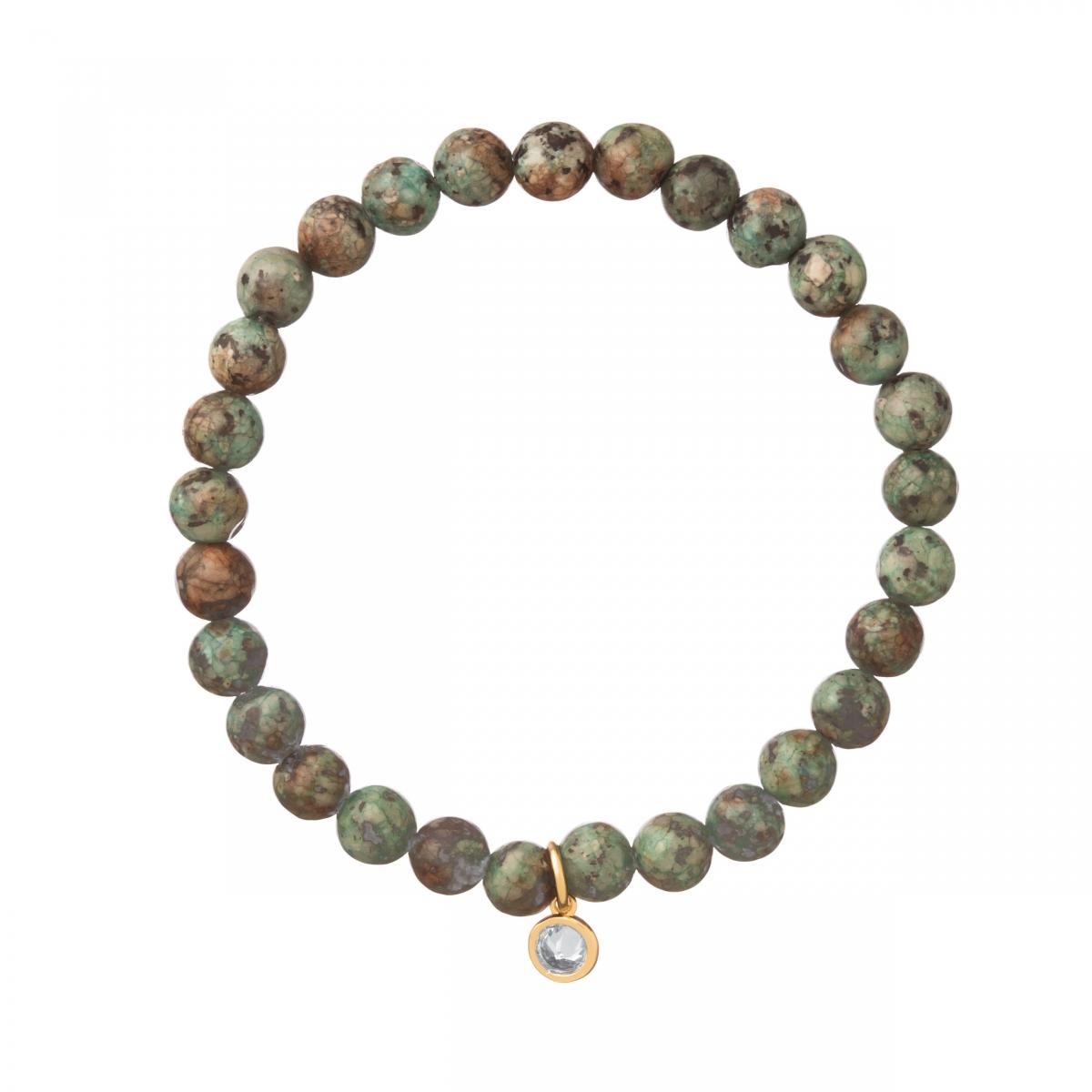 Náramok Mineral Green Lotus Jasper Gold Zircon Crystal