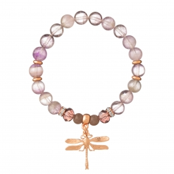 Náramok Mineral Purple Amethyst Rose Gold Dragonfly