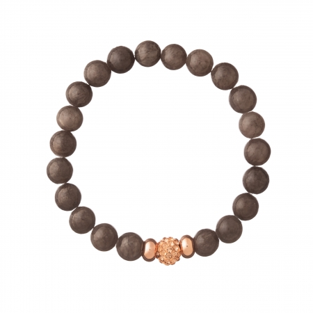 Náramok Mineral Grey Jadeit Ball Crystals Rose Gold