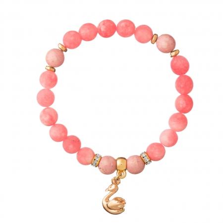 Náramok Mineral Matt Pink Jadeit Gold Swan
