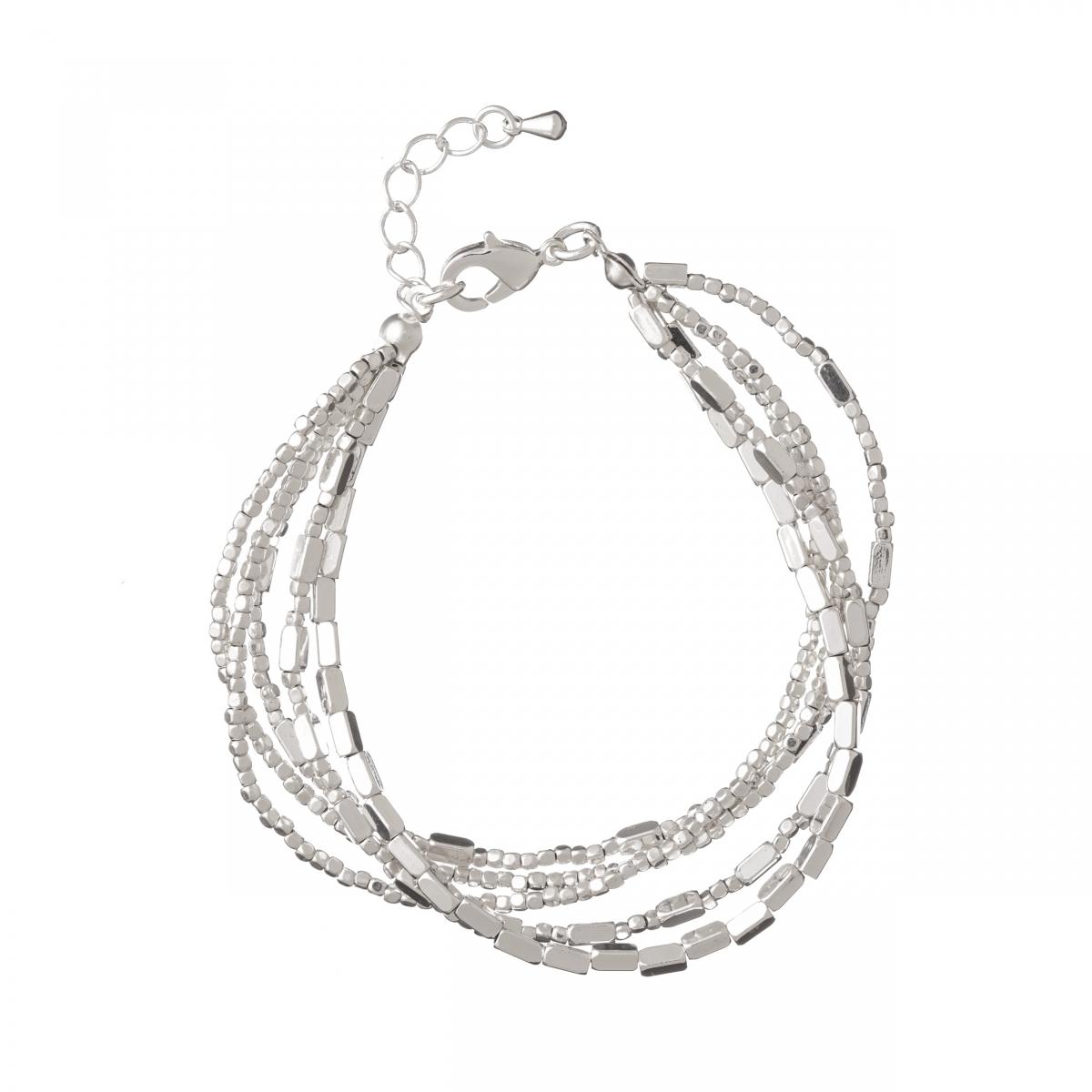 Náramok Boho Silver Metal Beads
