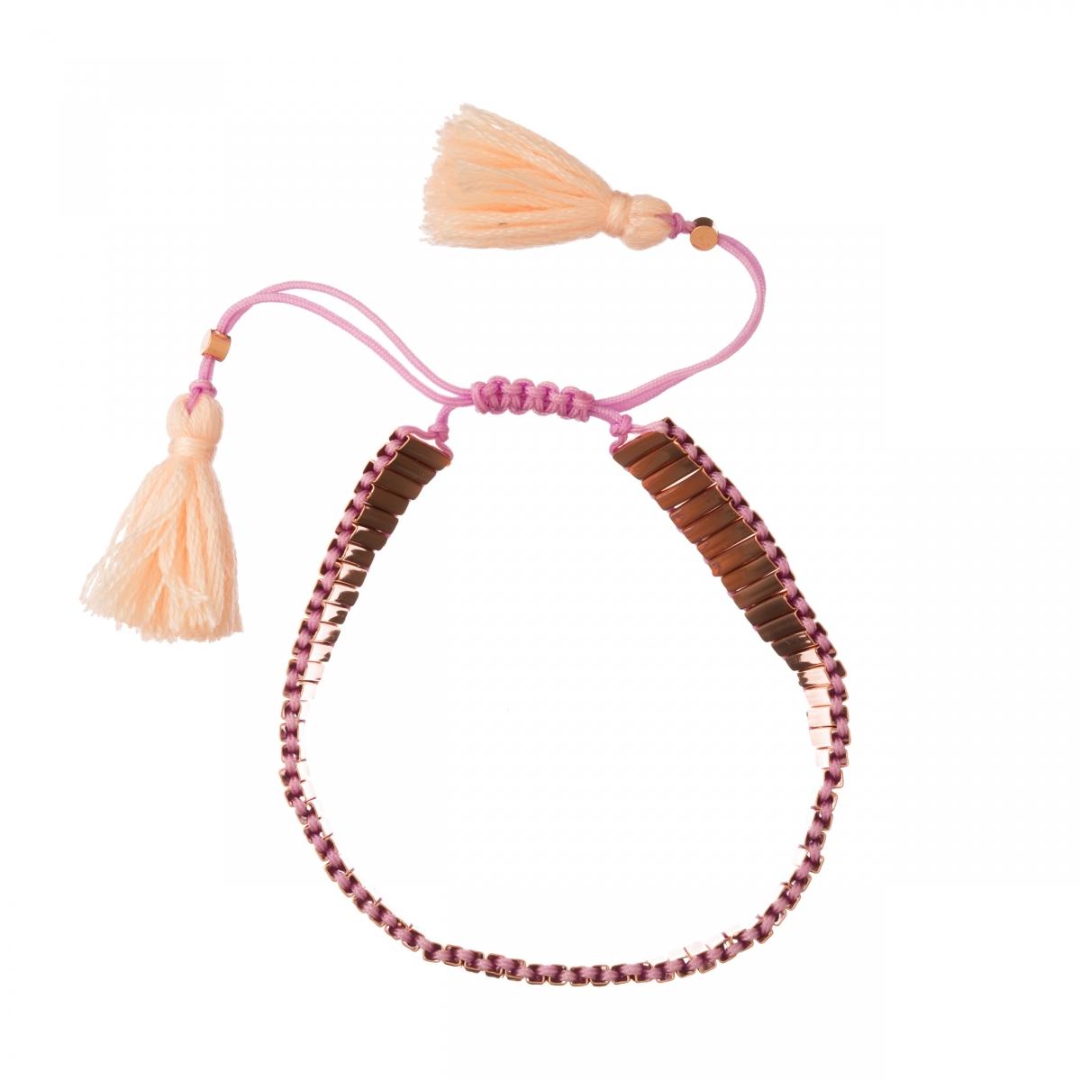Náramok Rosegold Beads Lines Friendship Bracelet