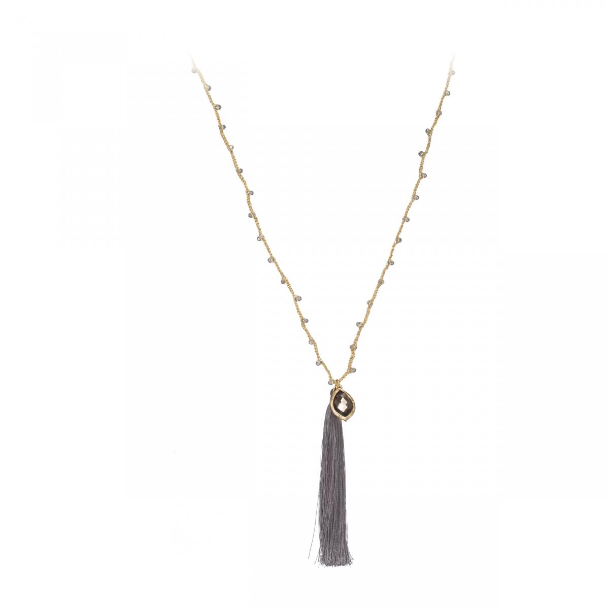 Náhrdelník Fine Grey Stripe & Crystals Gold