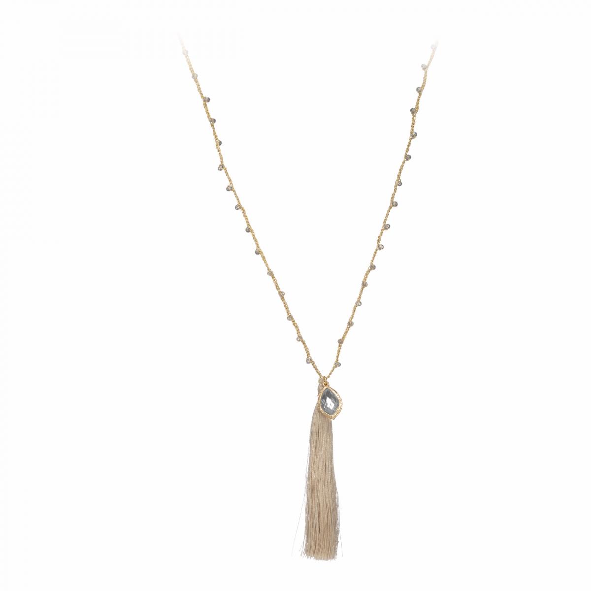 Náhrdelník Fine Beige Stripe & Crystals Gold