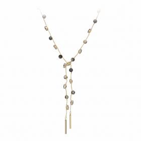 Náhrdelník Fine Choker Style Black - Grey Minerals & Crystals Gold