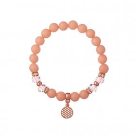 Náramok Mineral Peach Jadeit Rose Gold Round Disc