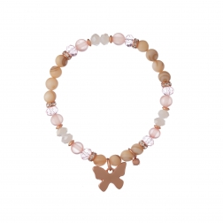Náramok Mineral Pink Crystal & Shell Rose Gold Butterfly