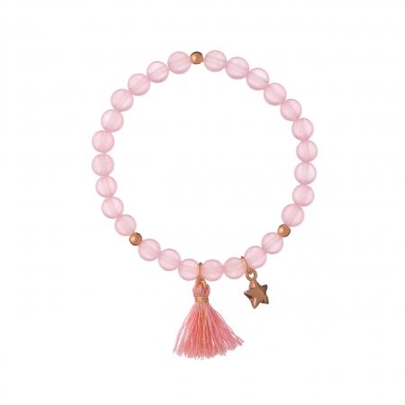 Náramok Mineral Pink Jadeit Gold Star Textil Stripe
