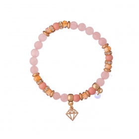 Náramok Mineral Pink Jadeit Gold Diamond