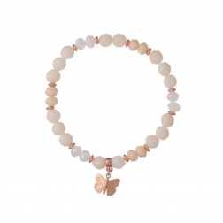 Náramok Mineral Peach Jadeit Mini Butterfly Rose Gold