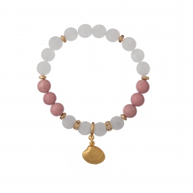 Náramok Mineral Matt White - Pink Jadeit Gold Shell