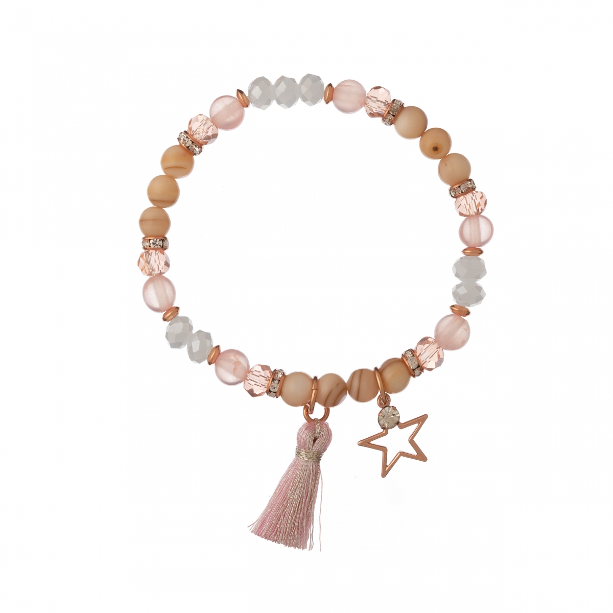 Náramok MIneral Pink Crystal & Shell Rose Gold Star Textil Stripe