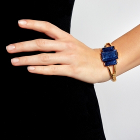 Náramok Luxury Dark Blue Gold Elastic