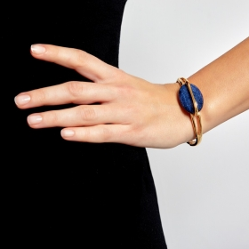 Náramok Oval Blue Elastic Gold