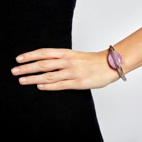 Náramok Oval Fashion Purple Silver Elastic