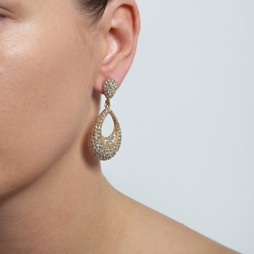 Náušnice Gold Dropp Elegant Swarovski Crystal