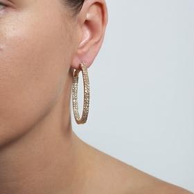 Náušnice Hoop Double Swarovski Crystal Gold