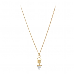 Náhrdelník Long White Marble Pendant Gold