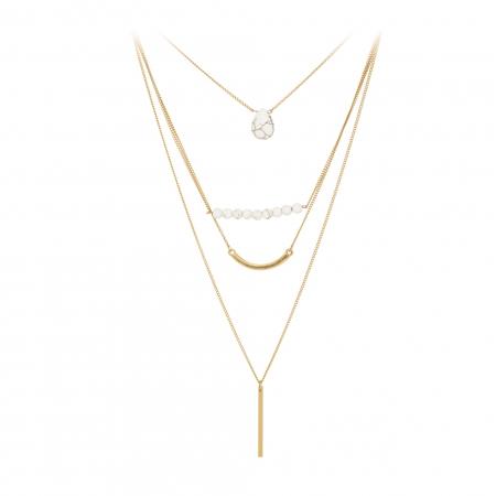 Náhrdelník Long Minimalistic White Marble Pendant Gold