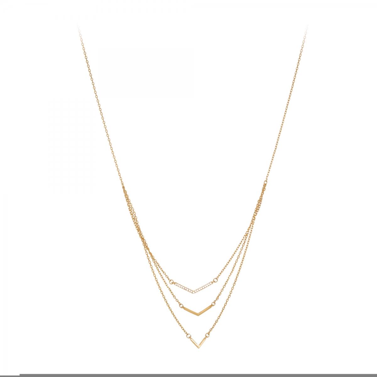 Náhrdelník Three Row Fine Gold Crystal