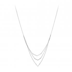 Náhrdelník Three Row Fine Rhodium Crystal