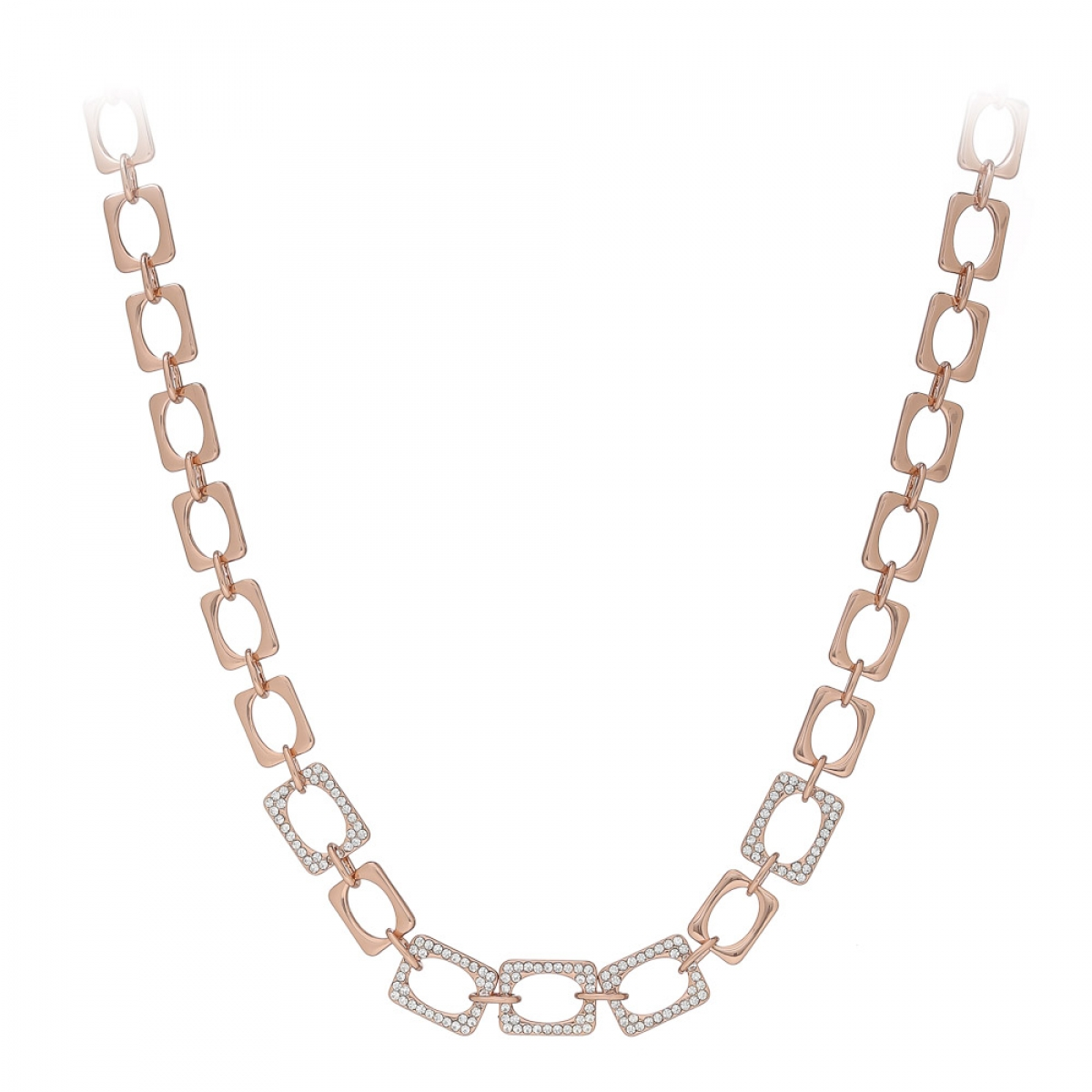 Náhrdelník Modern Chain Style Zircon Crystals Rose Gold