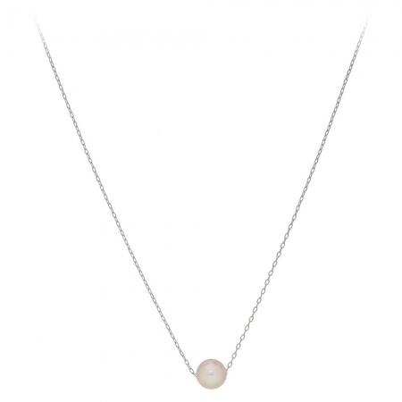 Náhrdelník Fine Simple White Pearl Silver