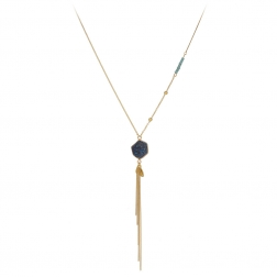 Náhrdelník Exclusive Fine Long Dark Blue Stone Mineral Stripe Gold