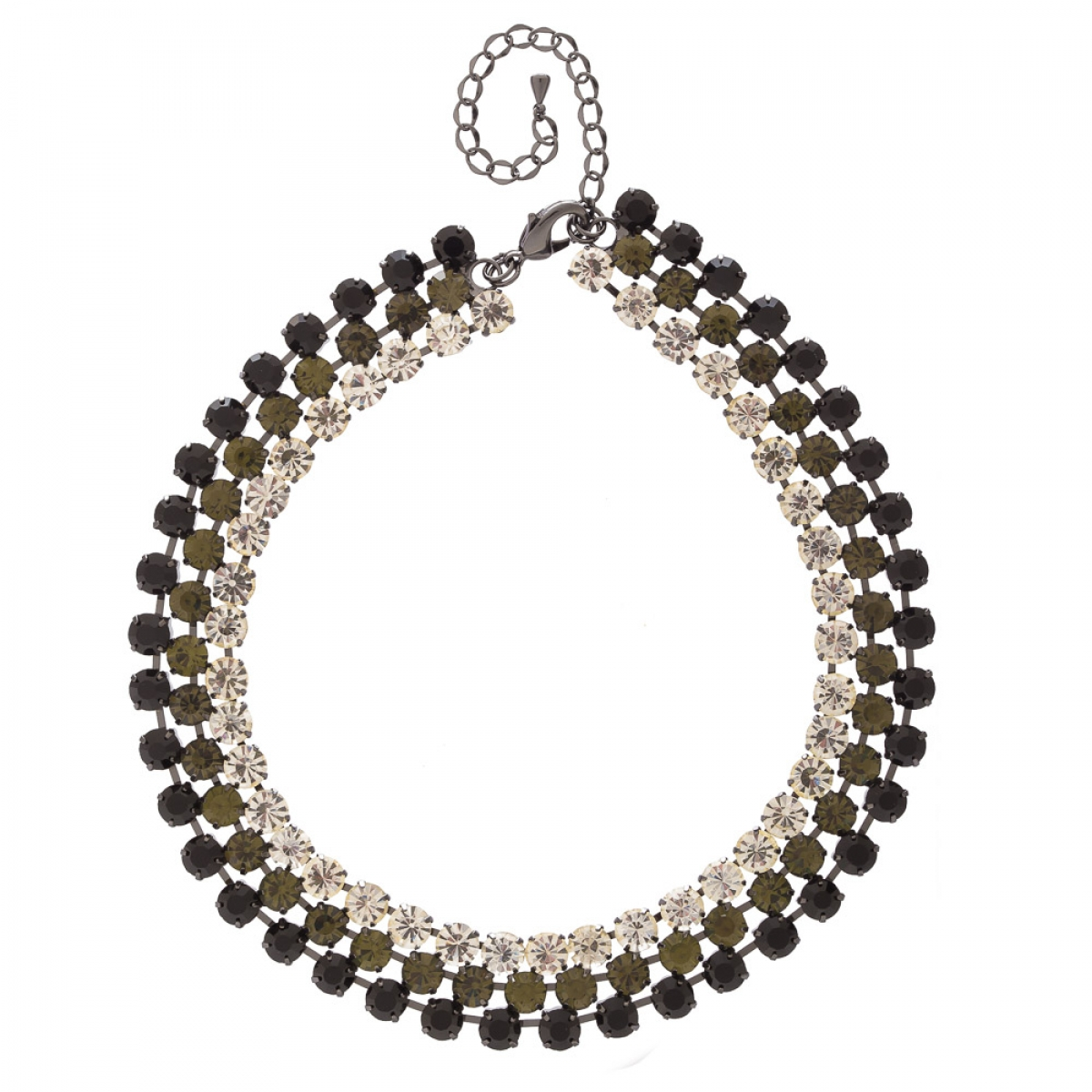Náhrdelník Elegance Black - Grey - Crystal