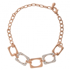 Náramok Modern Chain Style Zircon Crystals Rose Gold