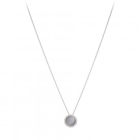 Náhrdelník Fine Circle Cateye White Silver