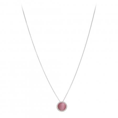 Náhrdelník Fine Circle Cateye Pink Silver