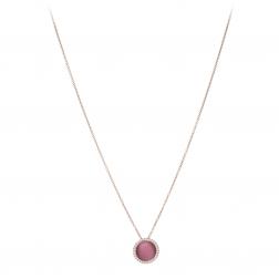 Náhrdelník Fine Circle Cateye Raspberry Rosegold