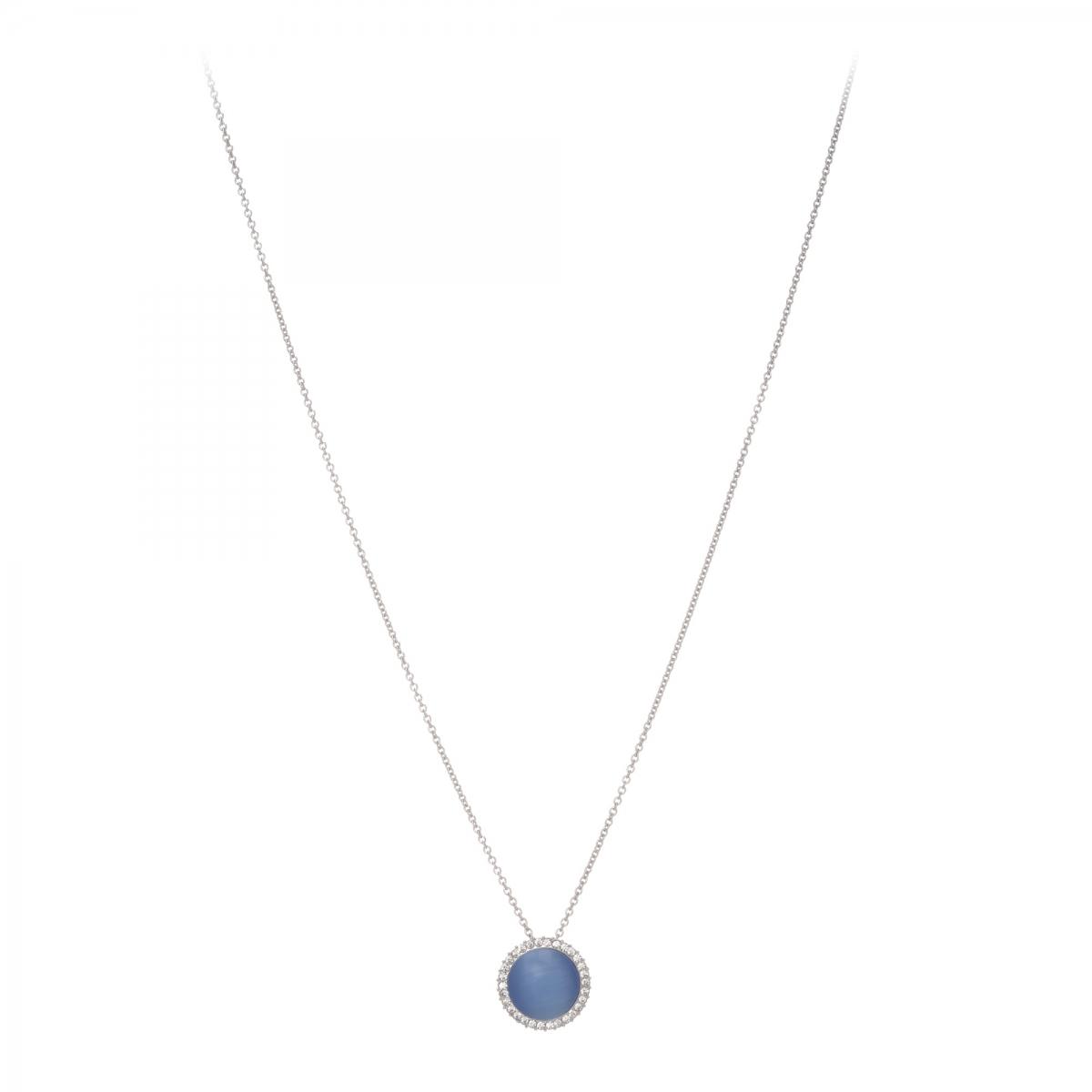 Náhrdelník Fine Circle Cateye Blue Silver