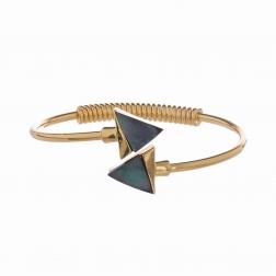 Náramok Triangle Zlatý so Šedou Mušľou