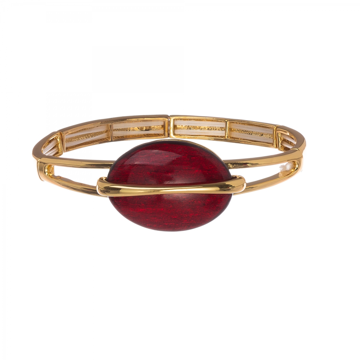 Náramok Oval Red Elastic Gold