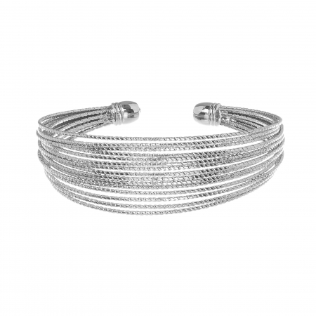 Náramok Thin Rows Rhodium
