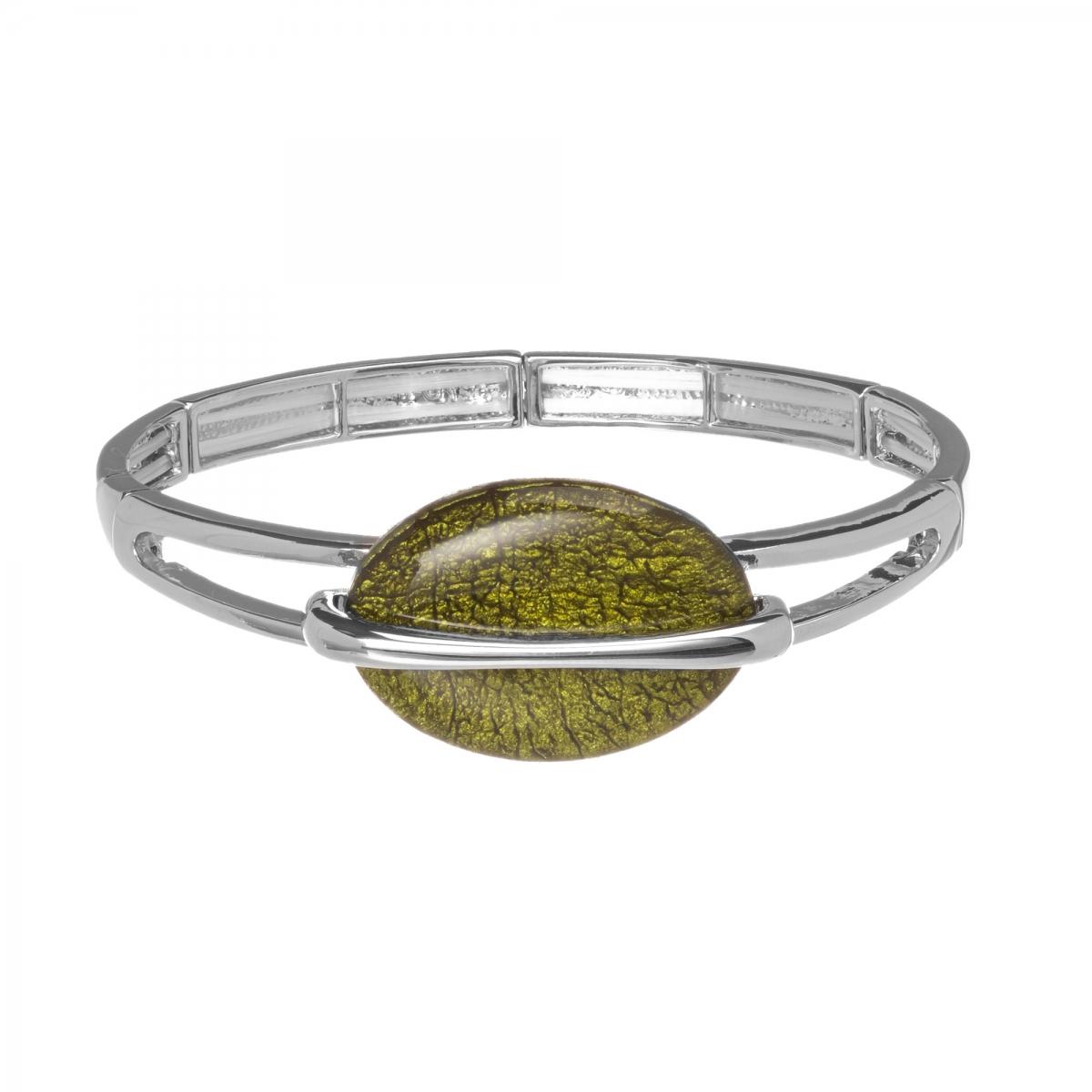 Náramok Oval Fashion Olive Silver Elastic