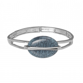 Náramok Oval Fashion Grey Blue Silver Elastic