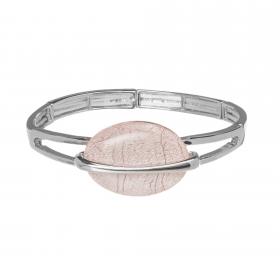 Náramok Oval Fashion Light Pink Silver Elastic