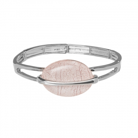 Náramok Oval Fashion Light Pink Silver Elastic
