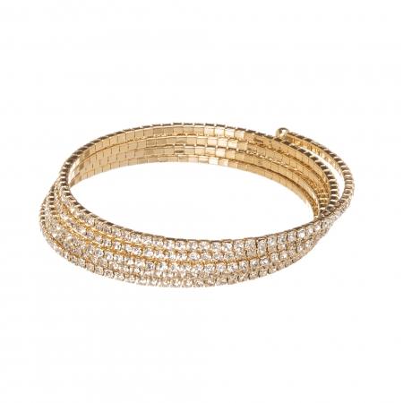 Náramok Spiral Swarovski Crystal Gold