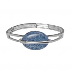 Náramok Oval Fashion Denimblue Silver Elastic